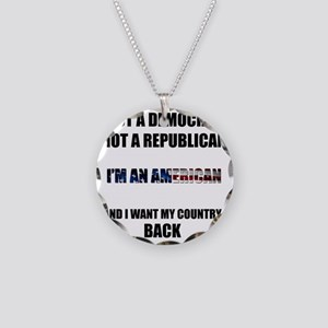 Im an American Necklace Circle Charm