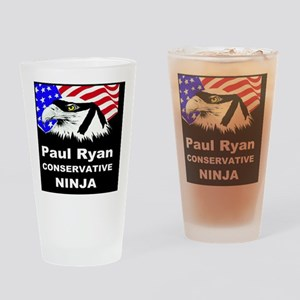 PAUL RYAN CONSERVATIVE NINJABUTTON Drinking Glass