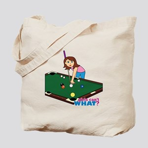 Girl Playing Billiards Tote Bag