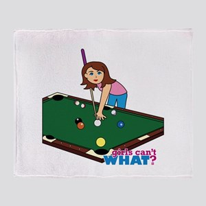 Girl Playing Billiards Throw Blanket