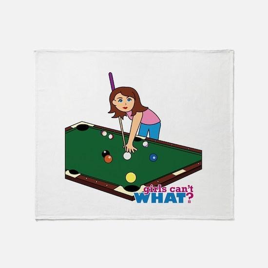 Girl Playing Billiards Throw Blanket