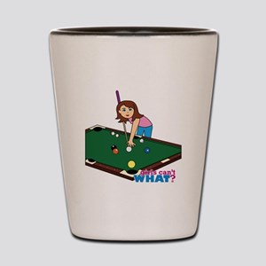 Girl Playing Billiards Shot Glass