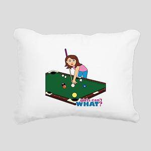 Girl Playing Billiards Rectangular Canvas Pillow