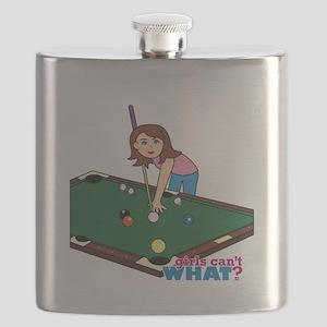Girl Playing Billiards Flask