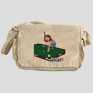 Girl Playing Billiards Messenger Bag