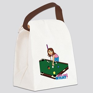 Girl Playing Billiards Canvas Lunch Bag