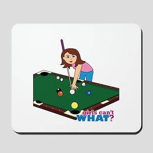 Girl Playing Billiards Mousepad