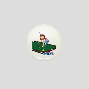 Girl Playing Billiards Mini Button