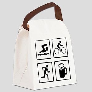 TriathleteBeerDrink1A Canvas Lunch Bag