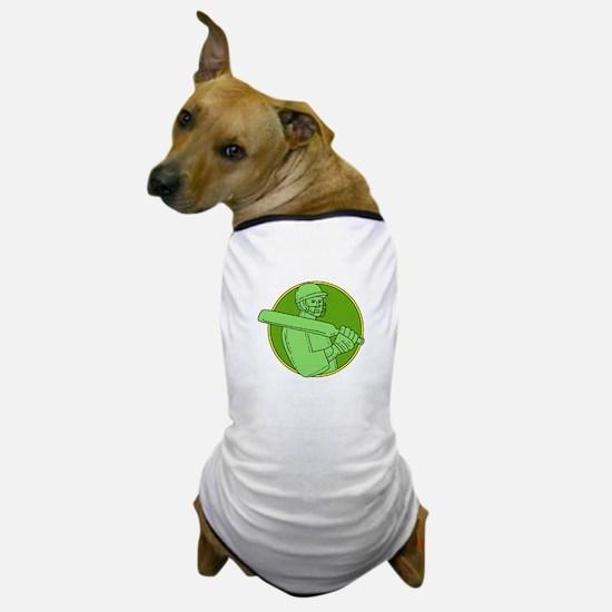 Cricket Player Batsman Circle Mono Line Dog T-Shir