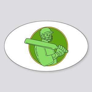 Cricket Player Batsman Circle Mono Line Sticker