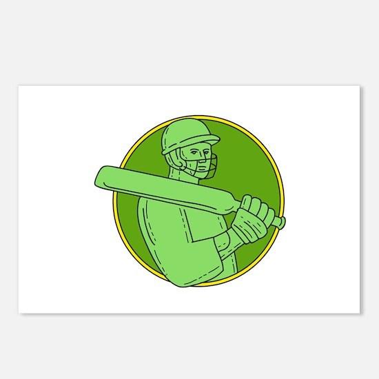 Cricket Player Batsman Circle Mono Line Postcards