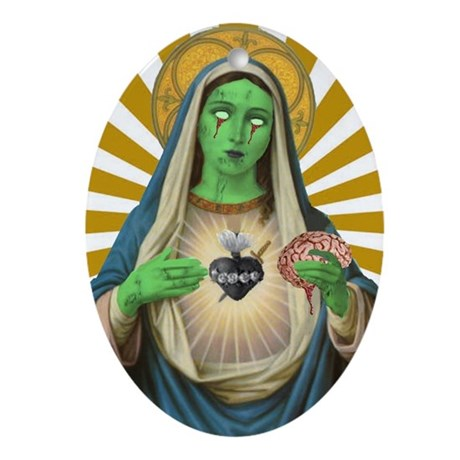 Virgin Mary Zombie Oval Ornament