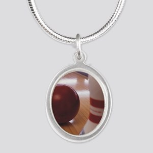 Bowling Alley Silver Oval Necklace