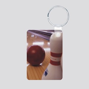 Bowling Alley Aluminum Photo Keychain