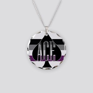 Ace Spade Necklace Circle Charm