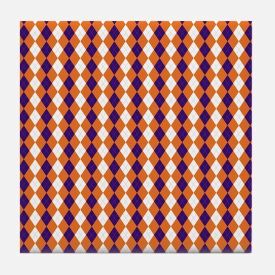 Clemson Argyle Sock Pattern South Car Tile Coaster