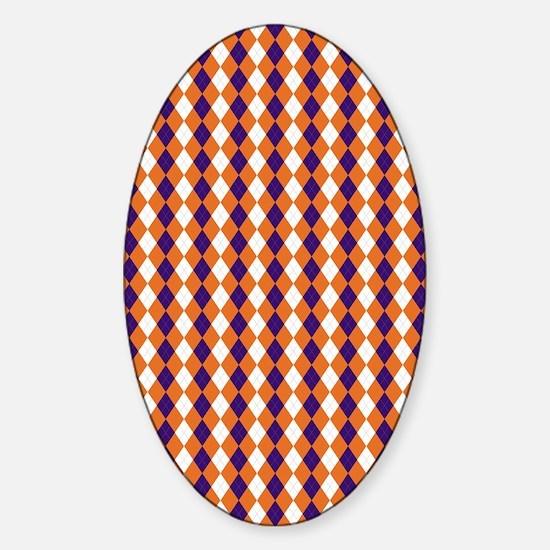 Clemson Argyle Sock Pattern South C Sticker (Oval)