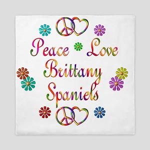 Peace Love Brittany Spaniels Queen Duvet
