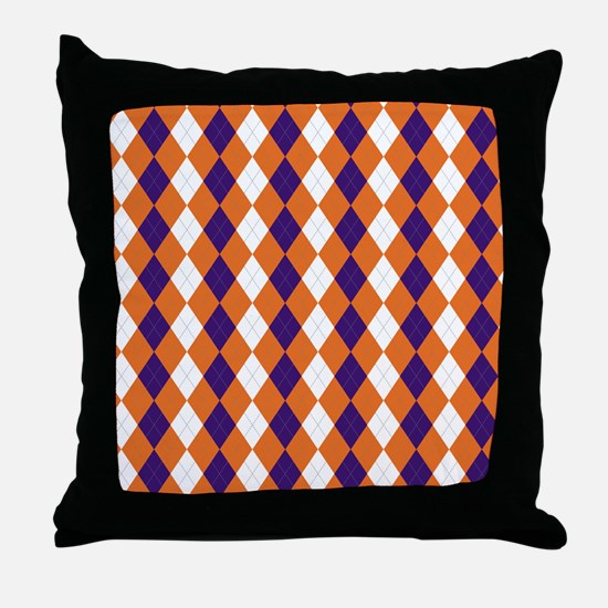 Clemson Argyle Sock Pattern South Car Throw Pillow