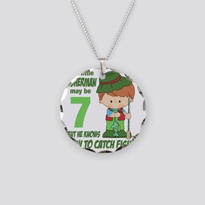 Seven Year Old Fisherman Necklace Circle Charm