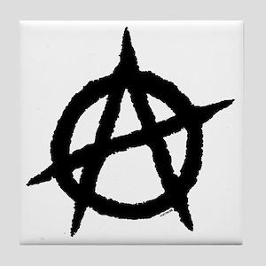 Anarchy14x14BlackOnWhite Tile Coaster