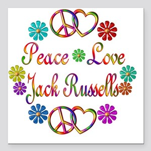 """Peace Love Jack Russells Square Car Magnet 3"""" x 3"""""""