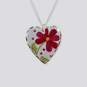 Give Yourself Flowers Today Necklace Heart Charm