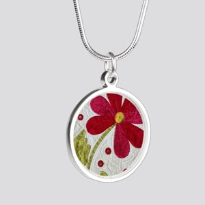 Give Yourself Flowers Today Silver Round Necklace