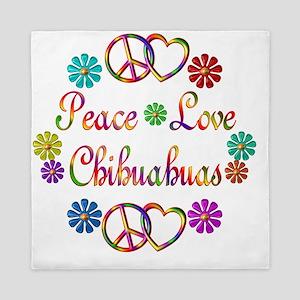 Peace Love Chihuahuas Queen Duvet