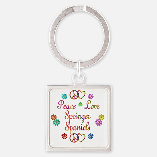 Peace Love Springer Spaniels Square Keychain