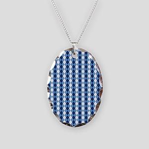 Carolina Blue Argyle Sock Patt Necklace Oval Charm