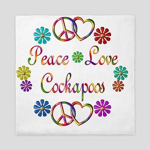 Peace Love Cockapoo Queen Duvet