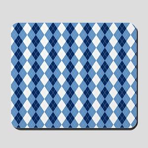 Carolina Blue Argyle Sock Pattern North  Mousepad