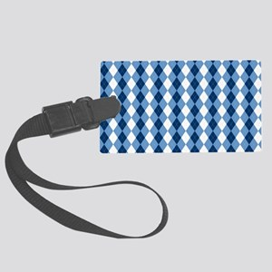 Carolina Blue Argyle Sock Patter Large Luggage Tag