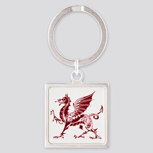 Two tone red and white dragon Square Keychain
