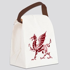 Two tone red and white dragon Canvas Lunch Bag