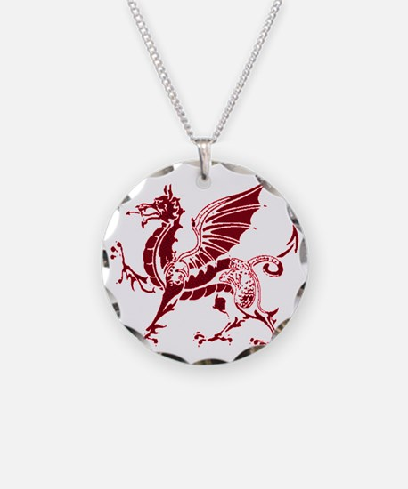 Two tone red and white drago Necklace