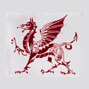 Two tone red and white dragon Throw Blanket