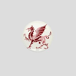 Two tone red and white dragon Mini Button