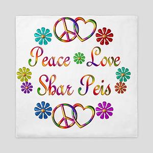 Peace Love Shar Peis Queen Duvet