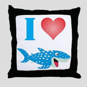 I Love Whale Sharks Throw Pillow