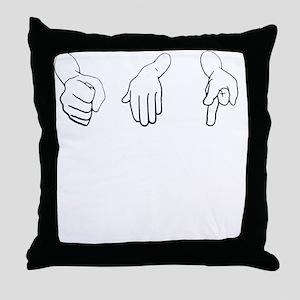 Get Along Rock Paper Scissors Throw Pillow