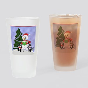 Christmas Racoons Drinking Glass