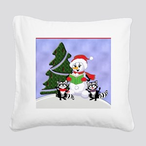 Christmas Racoons Square Canvas Pillow