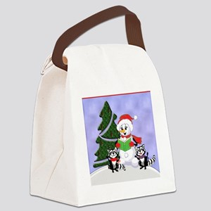 Christmas Racoons Canvas Lunch Bag