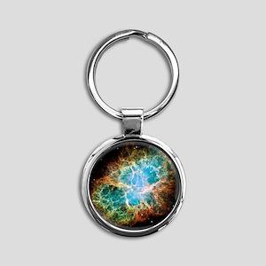 Crab Nebula Round Keychain
