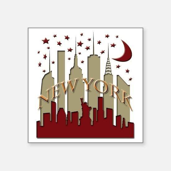 "New York City Skyline hot Square Sticker 3"" x 3"""