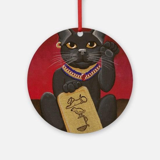 Maneki Neko Bast Round Ornament
