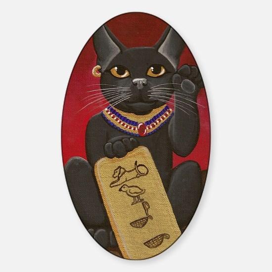 Maneki Neko Bast Sticker (Oval)